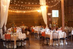 Barn Wedding with String Lights